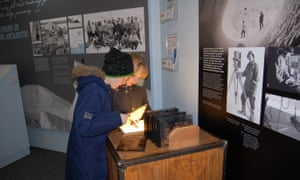 Kids in the Victorian explorers' gallery at Gilbert White's House and Gardens, Selborne, Hampshire, UK, which focuses on Frank and Lawrence Oates.