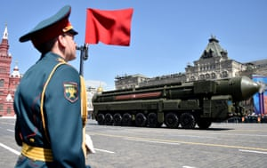 A Russian Yars RS-24 intercontinental ballistic missile system on display in Red Square