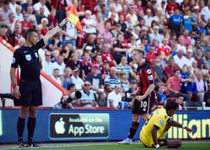 Bournemouth's Matt Ritchie is unhappy with the assistant referee.