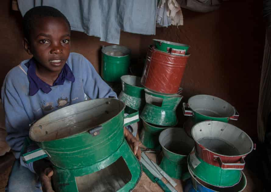 Gift Phiri makes up to 10 cooking stoves a day after school.