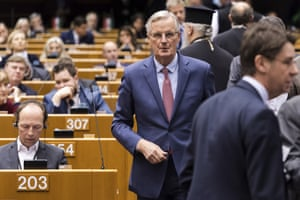 European Union chief Brexit negotiator Michel Barnier arrives for a plenary session at the European Parliament in Brussels on Wednesday Jan. 30, 2019.