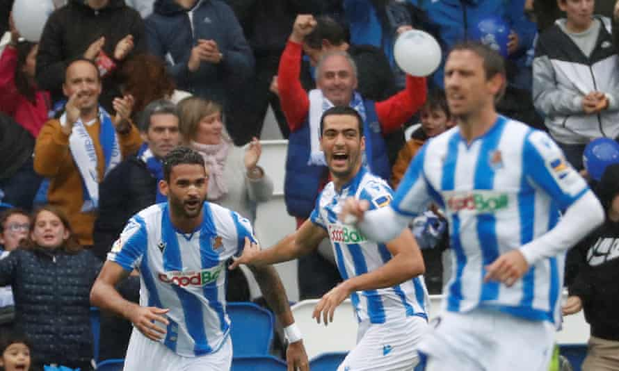 Real Sociedad players and fans celebrate a goal during their La Liga victory against Real Betis at the weekend.