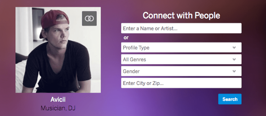 Myspace's homepage features Swedish DJ Avicii.
