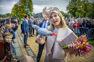 Hoogeveen, The NetherlandsA parrot perches on the arm of the Netherland's Queen Maxima during a visit to Drenthe Province.