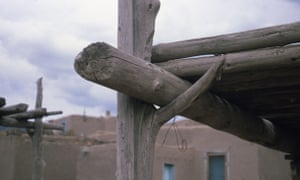 A forked post used in vernacular architectural style to support a beam in Taos, New Mexico