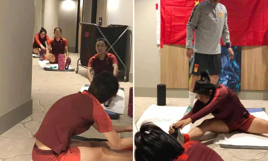China women's football team stretching in hotel room