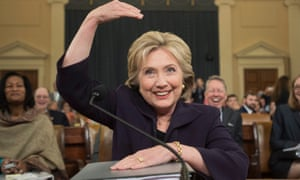 Hillary Clinton gestures as she resumes her testimony on the Benghazi attack.