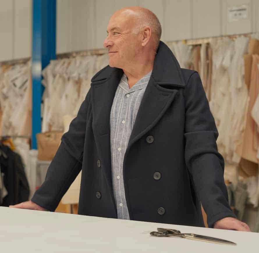 David Williams, 66, Pattern Cutter, wears pea coat, £185, and shirt, £49.