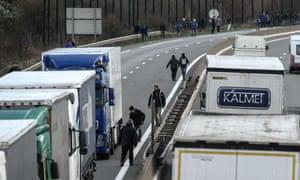Lorries near Calais