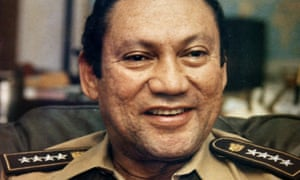 Manuel Noriega talking to reporters in Panama City, 1989; later that year US troops took over the city.