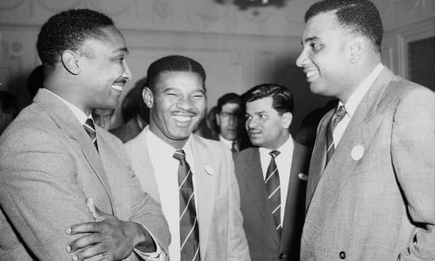 The Three Ws attending a cocktail party at the West Indian Club, London, the day after their arrival in Britain on 15 April 1957. Left to right: Frank Worrell, Everton Weekes and Clyde Walcott