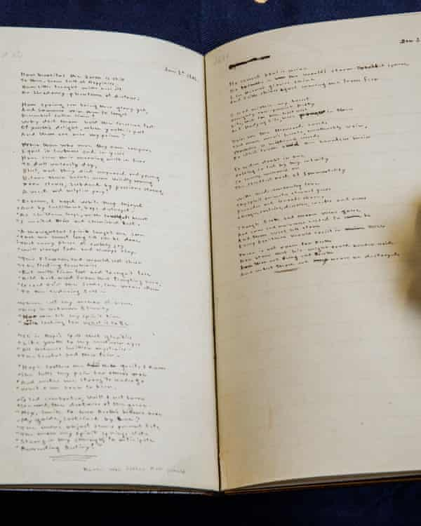The handwritten manuscript of Emily Brontë's poems, with pencil corrections by Charlotte.