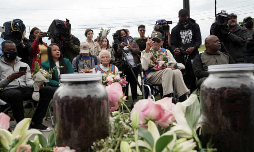 Survivors and siblings Viola Fletcher and Hughes Van Ellis attend the soil dedication at Stone Hill on the 100-year anniversary of the 1921 Tulsa massacre in Tulsa, Oklahoma, on Monday.