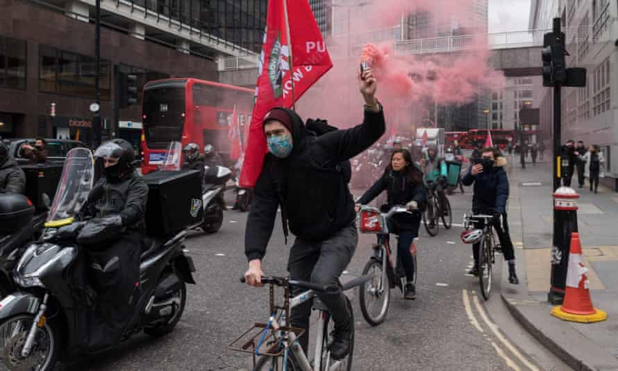 Protests by Deliveroo couriers after the firm was listed on the stock market.