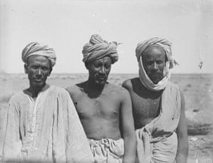 Three of Garstang's Sudanese excavators. Meroë, 1910