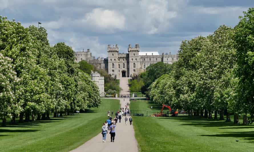Walkers on Long Walk in Windsor Great Park