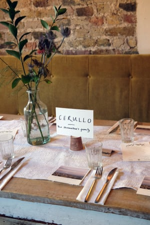 This table is named Cerullo, after the shoemaker's family. in the novel.