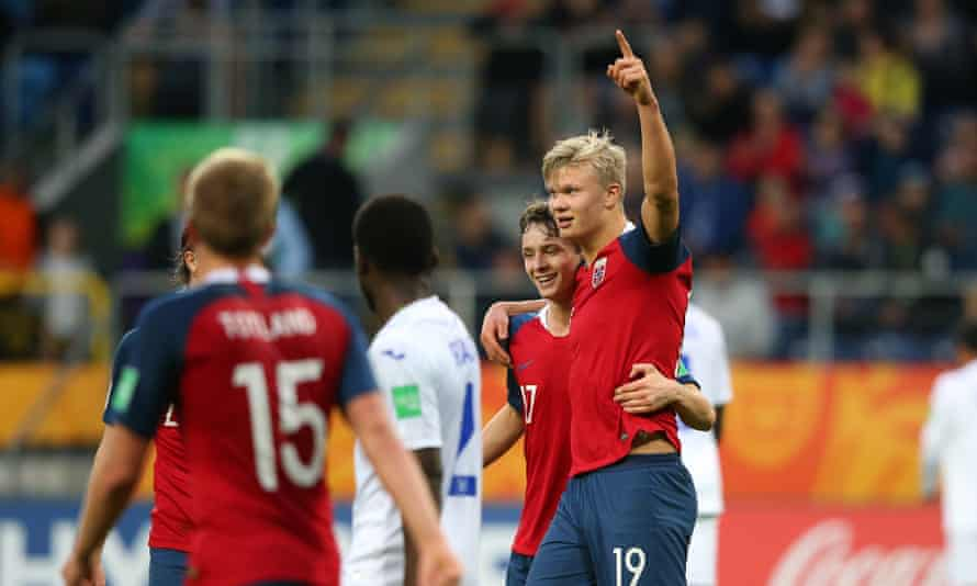 Erling Braut Haaland celebrates one of his nine goals against Honduras at the Under-20 World Cup in May.