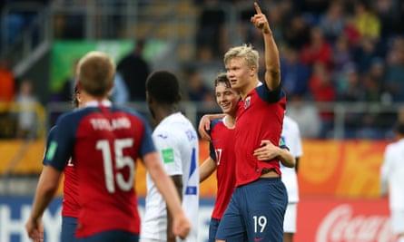 Erling Braut Håland celebrates his team's 11th goal against Honduras