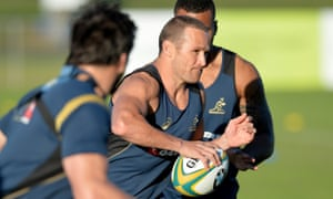 Matt Giteau, pictured here in training this week, has not pulled on a Wallabies jersey since 2011.