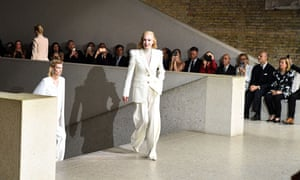 German singer Ute Lemper walks the runway for Max Mara resort 2020 fashion show at Neues museum in Berlin.