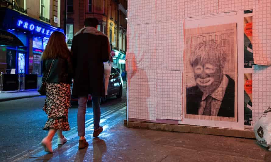 A poster depicting British prime minister Boris Johnson in Soho, London.
