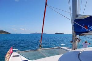 "Sunsail catamaran ""Melissa"" sailing Whitehaven beach in the Whitsunday Islands, Queensland"