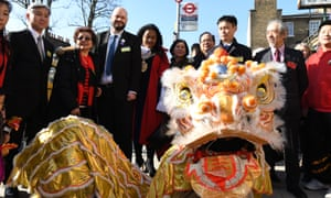 Chinese lunar new year celebrations outside the Old Bath Community House in Hackney.