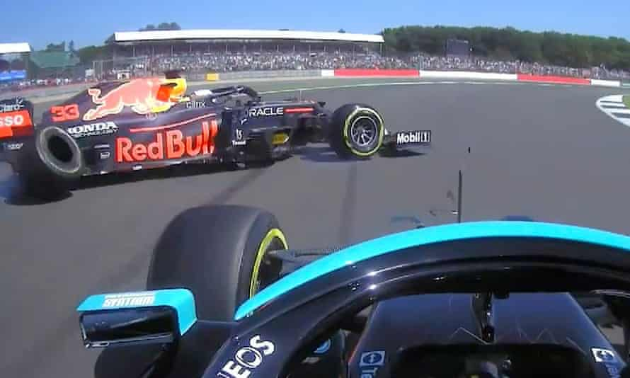 Lewis Hamilton and Max Verstappen collide on Copse corner.