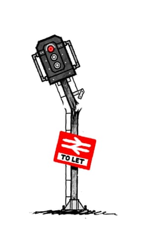 Illustration by David Foldvari showing a broken signal light with a To Let sign attached.