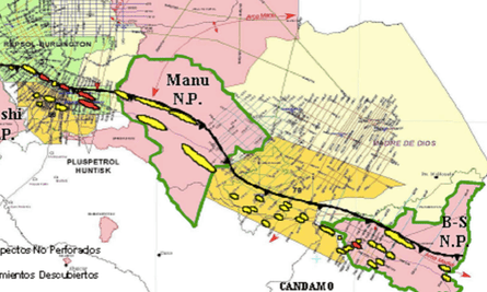 Map demonstrating the reasons for the oil and gas industry's interest in Manu. The yellow blobs are 'undrilled prospects', while the red blobs are 'discovered deposits.'