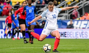 Fran Kirby takes a shot at goal during England's emphatic win over France