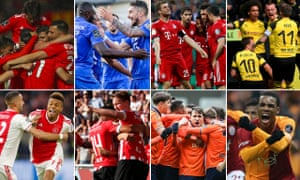 Clockwise from top left: Benfica, Porto, Bayern Munich, Borussia Dortmund, Ajax, PSV Eindhoven, Istanbul Basaksehir and Galatasaray all still have a chance to win their domestic leagues.