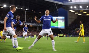 Dominic Calvert-Lewin celebrates after opening the scoring at Goodison Park.