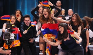 Singer Iveta Mukuchyan representing Armenia with the Karabakh flag after performing in the first semi-final of the Eurovision Song Contest.