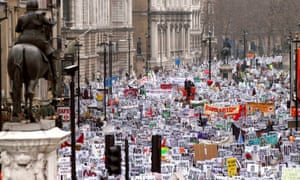 Thousands of demonstrators march through Whitehall to protest against the war in Iraq in 2003.