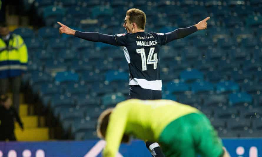Millwall's Jed Wallace celebrates after his injury-time winner to beat Leeds 4-3.