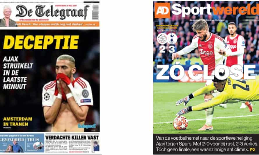 Thursday's editions of the Dutch newspapers De Telegraaf and Sportwereld