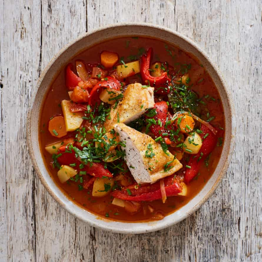 Nieves Barragán Mohacho's chicken with roasted red peppers stew.