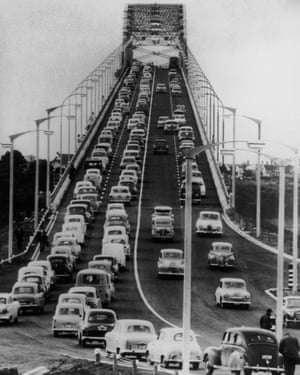 Traffic on the newly opened Auckland Harbour Bridge June 1959