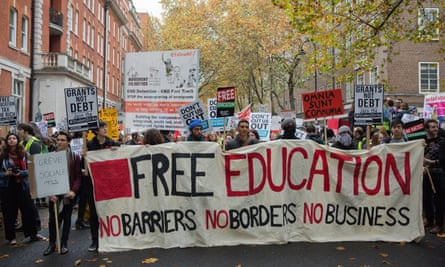 tudents on the national demonstration for a free education in London on 4 November.