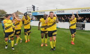 Mike Finneran celebrates with his teammates after Canvey Island's 3-2 victory over Cray Wanderers in the FA Cup fourth qualifying round