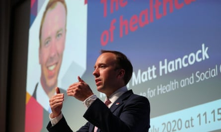 Matt Hancock gave a speech on the future of the NHS at the Royal College of Physicians in central London on Thursday.