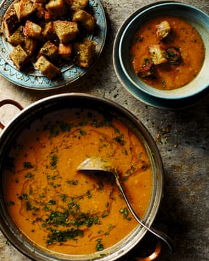 Red lentil and squash soup with za'atar croutons.