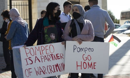 Palestinians protest against expected visit of the US Secretary of State Mike Pompeo to the Jewish settlement of Psagot.