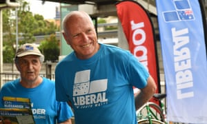 Liberal senate candidate Jim Molan campaigning at Epping train station in Sydney.