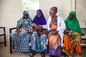 Amina Shallangwa with new mothers at a camp in Muna Garage. In December 2017, 406,638 consultations were made in Unicef-supported health facilities in north-east Nigeria