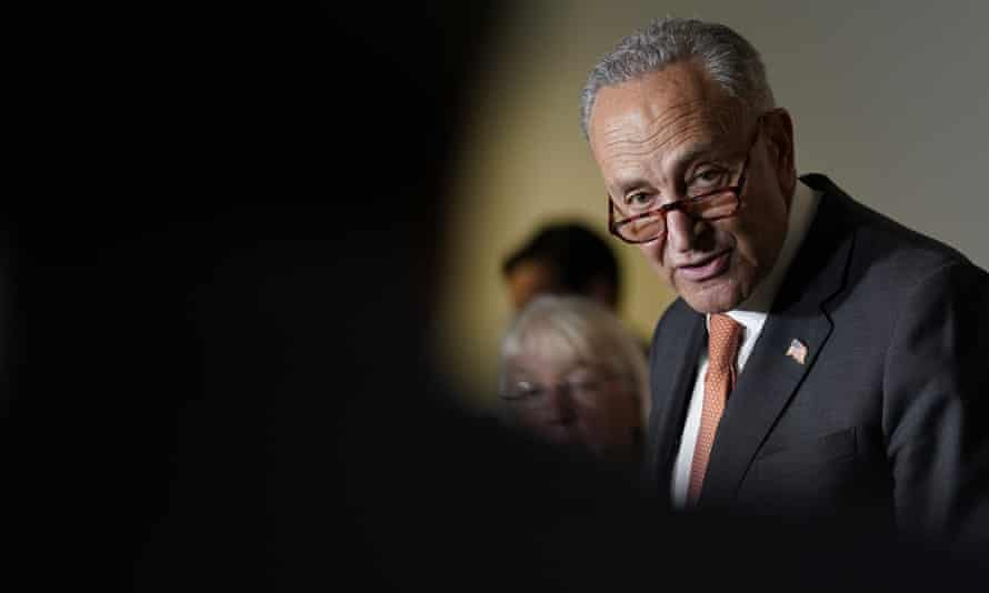Senate Majority Leader Chuck Schumer talks with reporters on Capitol Hill on Tuesday.