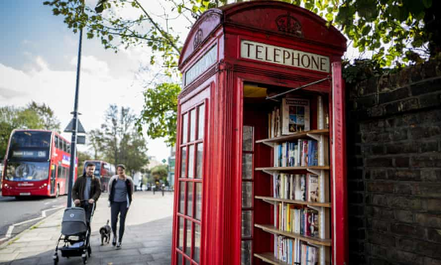 A book-exchange phone box in Lewisham, south London.