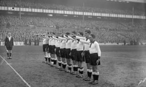 The Germany players give the Nazi salute before their match against England at White Hart Lane on 4 December 1935.